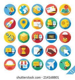 Round vector flat icons set with long shadow for web and mobile apps. Colorful modern design illustrations, concepts of delivery, shipping process, ecommerce, logistics. Isolated on white background.