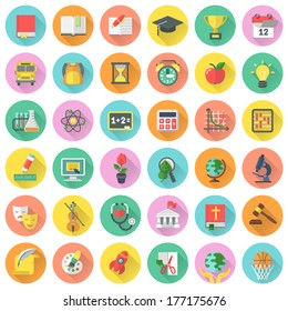 Round vector flat school subjects icons for education with long shadows