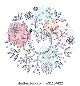 Round vector floral pattern with cute sleeping cat