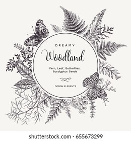 Round vector frame with leaves, various ferns and two butterflies. Botanical illustration. Black and white.