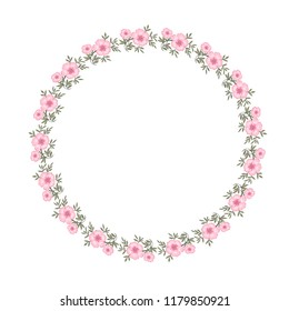 Round vector frame with pink flowers for greeting card design and congratulations