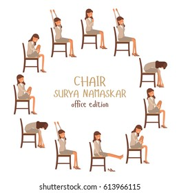 Round vector illustration of chair sun salutation positions. Woman in suit doing yoga at work. Office worker doing Surya namaskar asana. Workout picture on white isolated background.