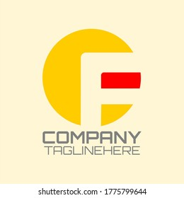 """Round vector logo for business with the initials """"CF"""" or """"F"""" in bright yellow and red background."""