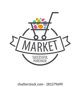 Round vector logo shopping cart