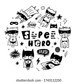 Round vector set of speech bubbles, stars, masks and cartoon superheroes in black costumes. Can be used for invitation cards and drawing poster, T-shirt Print and cartoon characters.
