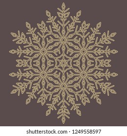 Round vector snowflake. Abstract winter ornament. Golden snowflake