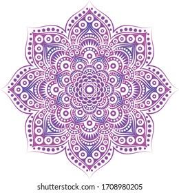 Round vector symetric mandala. Circular pattern for Henna, Mehndi, tattoo, decoration. Decorative ornament in ethnic oriental style.