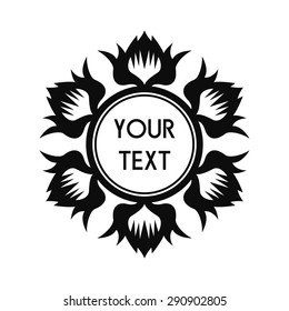 Round Vector Text Frame With Decorative Floral Elements For Logos, Stickers, Labels, Tags And Other Design.