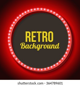 Round Vintage Frame With Lights Red Volumetric 3d Retro Lamp And Black Background