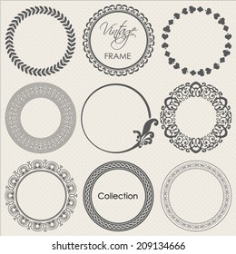 round vintage frame vector collection
