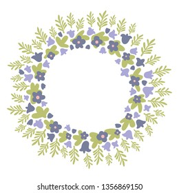 Round violet, green and blue spring floral vector wreath with bells and forget-me-nots
