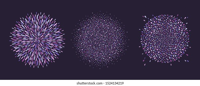 Round violet, purple colorful backgrounds set, collection. Sphere shape, magic circle made of drops, uneven dots, paint splashes, specks, tiny spots, blobs. Radial firework templates, design elements.
