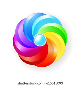 Round volumetric element for design. Color circle, rainbow, palette, flower, concept. Multicolored abstract vector illustration. EPS10.