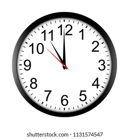 Round wall clock mock up - front view. Eleven o'clock. Vector illustration