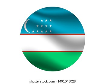 Round and waving with shadow Beautiful national flag of Republic of Uzbekistan, original colors and proportion. Simply vector illustration eps10, from countries flag set.