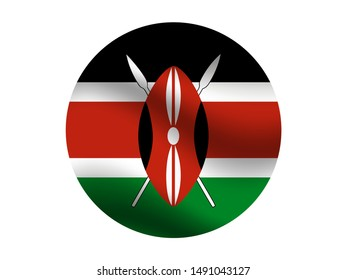 Round and waving with shadow National flag of Republic of Kenya. original colors and proportion. Simply vector illustration eps10, from countries flag set.