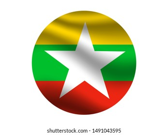 Round and waving with shadow National flag of Republic of the Union of Myanmar. original colors and proportion. Simply vector illustration eps10, from countries flag set.