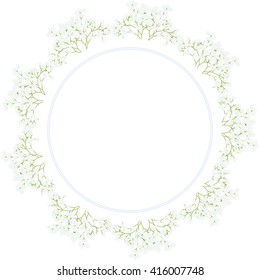 Round wedding frame with delicate blue and white gypsophila. Vector.
