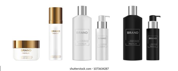 Round white, black, gold, grey and silver plastic bottle set with dispenser for  liquid soap, lotion, shampoo, shower gel, lotion, body milk.  Realistic packaging mockup template. Side view. With gold