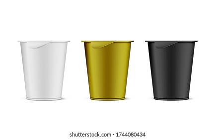 Round White, Black And Gold Plastic Pot With Foil Cover Cup For Dairy Products, Yogurt, Cream. EPS10 Vector