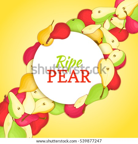 Round white frame on ripe pear diagonal composition background. Vector card illustration. Delicious fresh and juicy pears whole, peeled piece of half slice leaves seed. appetizing looking