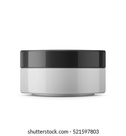 Round white glossy plastic jar with black lid for cosmetics - body cream, butter, scrub, bath salt, gel, skin care, powder. Realistic packaging mockup template. Side view. Vector illustration