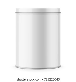 Round white glossy tin can with lid. Container for dry products - tea, coffee, sugar, cereals, candy, spice. Realistic packaging vector mockup template. Front view.