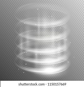 Round white glow rays swirl portal night scene with sparks on transparent background. Empty light effect podium. Disco club dance floor. Show party. Beam stage. Magic fantasy . Futuristic teleport.