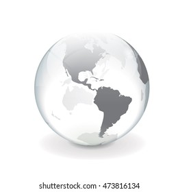 Round white gray vector world globe illustration of america with a glass and ice effect.