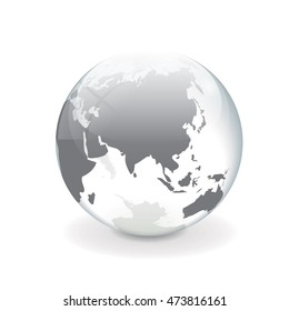 Round white gray vector world globe illustration of asia with a glass and ice effect.