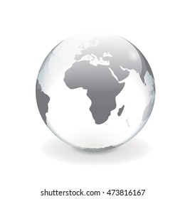 Round white gray vector world globe illustration of africa with a glass and ice effect.