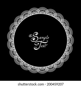 Round white lacy frame in vector