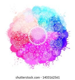 Round white mandala oncolorful isolated background. Mandala over colorful watercolor. Beautiful vintage round pattern.