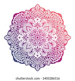 Round white mandala oncolorful isolated background. Mandala over colorful watercolor. Beautiful vintage round pattern. Flower-shaped mandala for coloring page