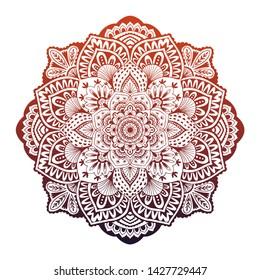 Round white mandala oncolorful isolated background. Beautiful vintage round pattern. Flower-shaped mandala for coloring page
