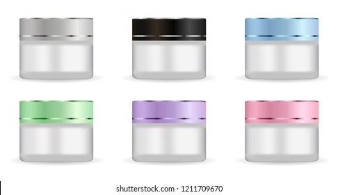 Round white matt glass jars set with different color plastic lids for cosmetics - body cream, butter, scrub, bath salt, gel, skin care, powder. Realistic 3d packaging mockup template.