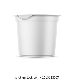 Round white matte plastic pot with foil cover for yogurt, cream, dessert or jam. 125 ml. Photo-realistic packaging mockup template. Side view. Vector 3d illustration.