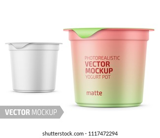 Round white matte plastic pot with foil cover for yogurt, cream, dessert or jam. 125 ml. Photo-realistic packaging mockup template with sample design. Vector 3d illustration.