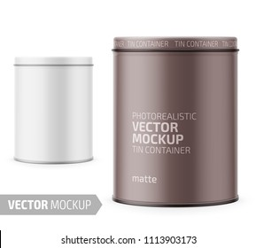 Round white matte tin can with lid. Container for dry products - tea, coffee, sugar, cereals, candy, spice. Photo-realistic packaging vector mockup template with sample design. Vector 3d illustration.