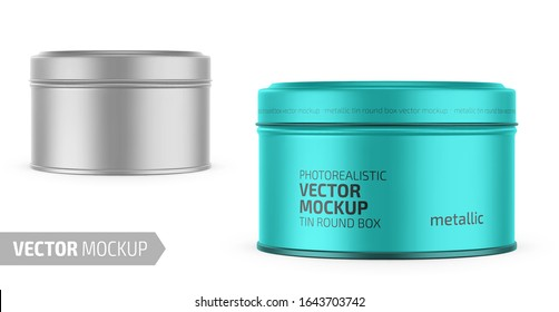 Round white metallic tin round box. Container for dry products - tea, coffee, sugar, cereals, candy. Photo-realistic packaging vector mockup template with sample design. Vector 3d illustration.