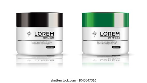Round white set, plastic jar with black and green lid for cosmetics - body cream,  butter, bath salt, gel, skin care, powder. Realistic packaging mockup template.  Side view. Vector illustration.