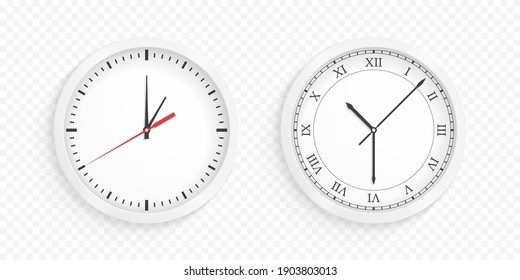 Round white wall office clock, white background, vector eps10 illustration