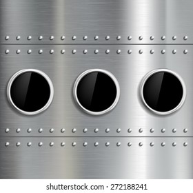 Round window in the fuselage. Vector image.
