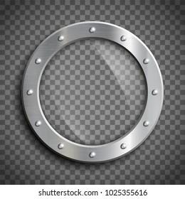 Round window porthole on transparent background. Stock vector illustration