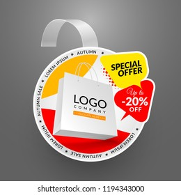 Round wobbler design template. Autumn sale event. Vector illustration with papper bag.