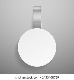 Round wobbler. Retail dangler or advertising priced hanging clear plastic sticker isolated vector white label template in supermarket, shelf price tag mockup