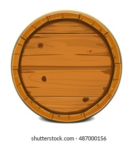 Round wooden barrel. Vector illustration background. Isolated on white