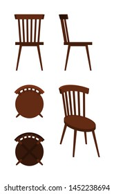 round wooden chair from different angles