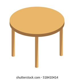 Round wooden table on high legs vector illustration isolated on white background.