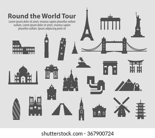 round the world tour set of vector icons